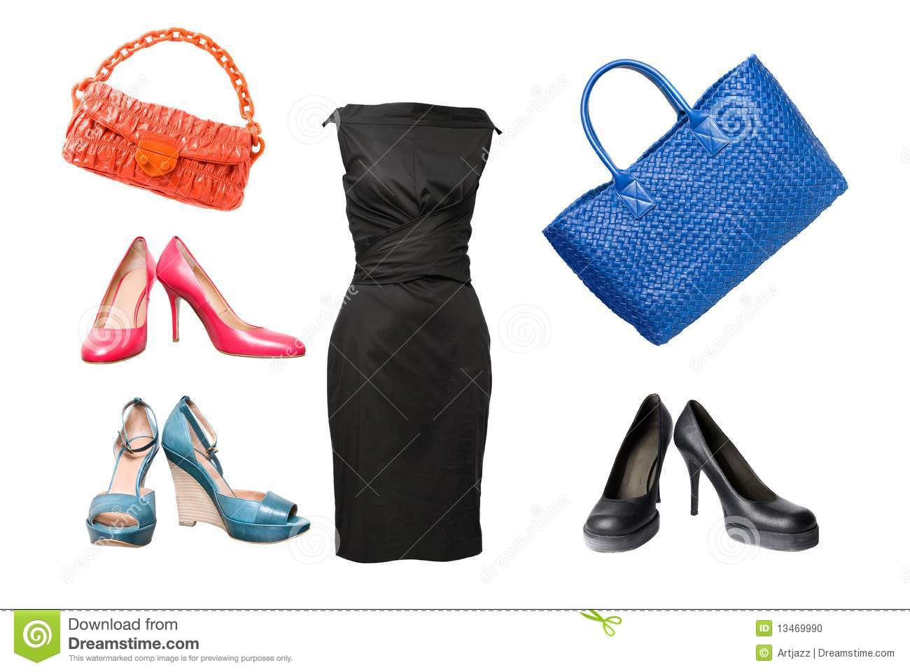 Set Of Female Shoes Dress And Bags Stock Photo - Image 13469990