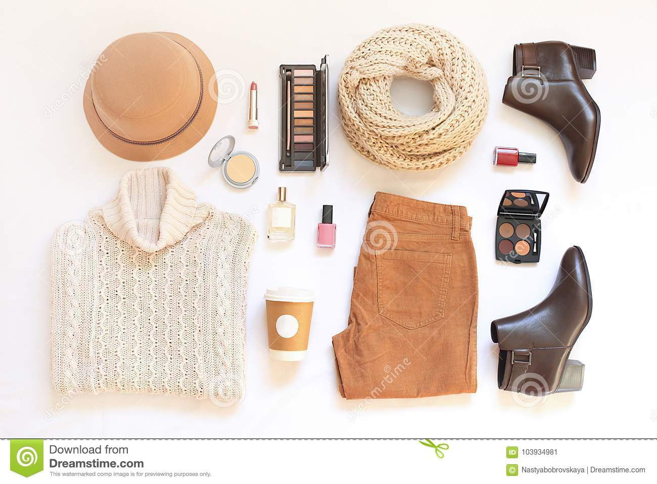 b82f1b0237 Set of female stylish clothes and accessories on white background flat lay