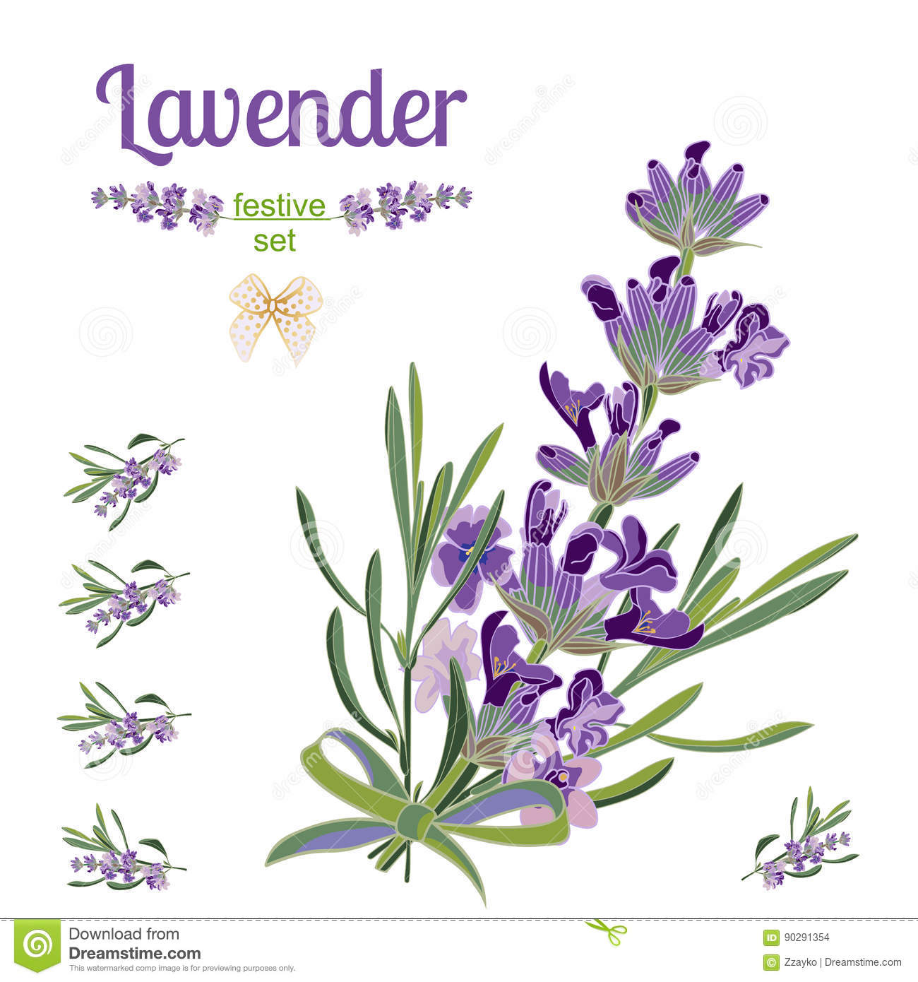 Set Festive Border And Elements With Lavender Flowers For Greeting