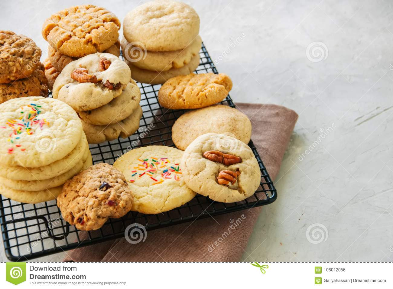 Set Of Festive Cookies On A Wire Rack. Peanut Butter ...