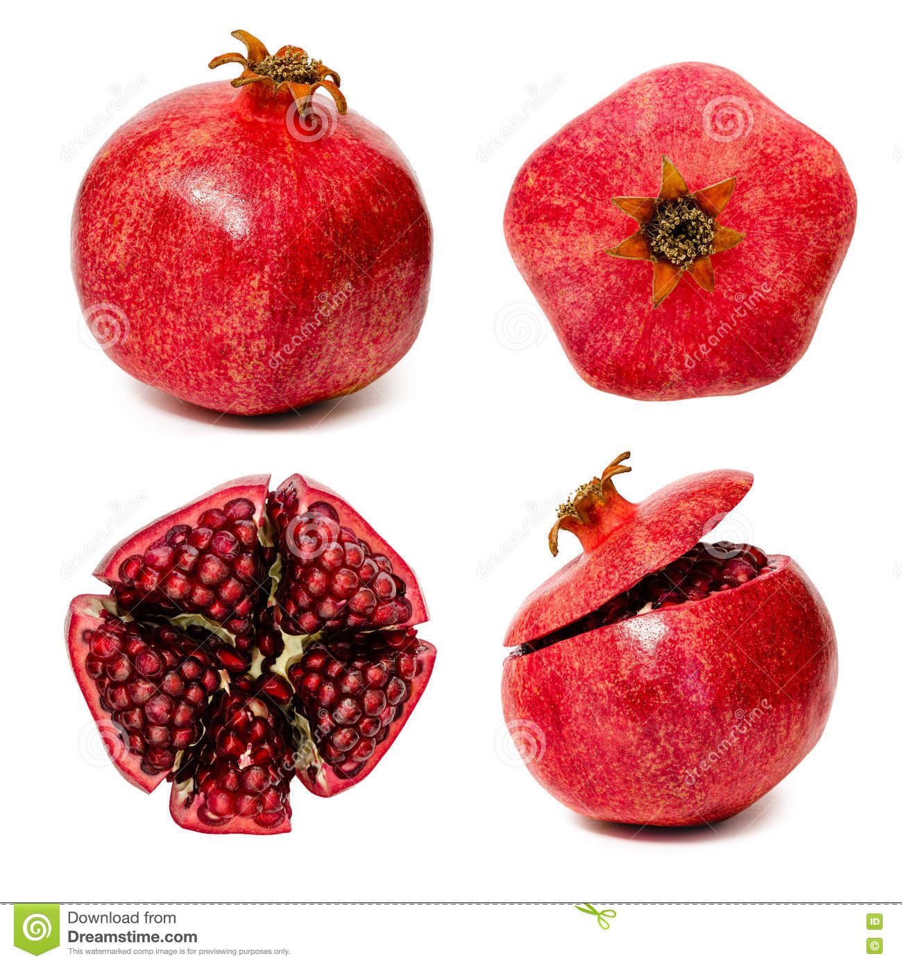 set of few views of pomegranate healthy and vitamin food stock