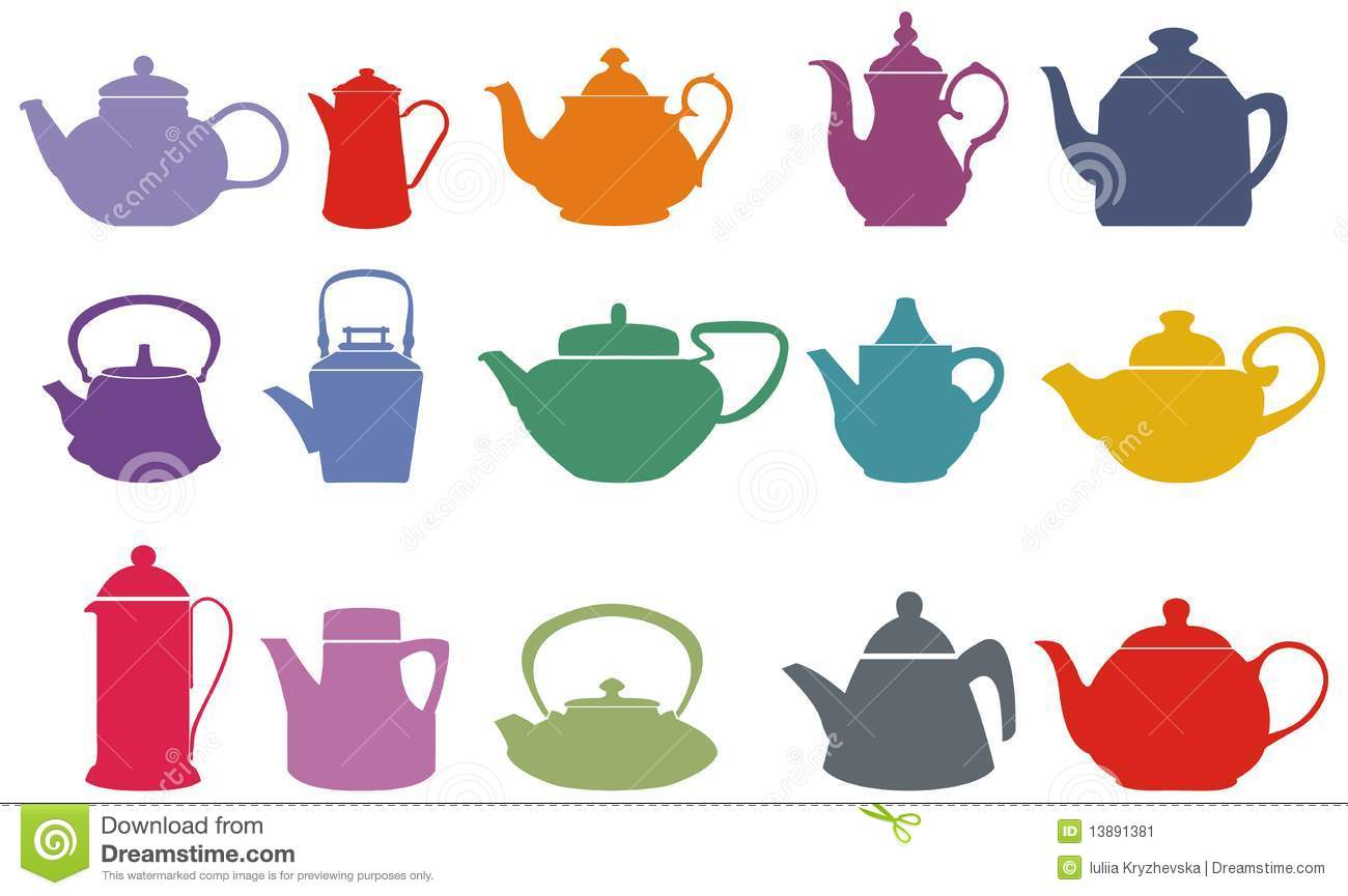 Vintage kitchen decor green - Set Of Fifteen Colorful Vector Teapots Stock Image Image