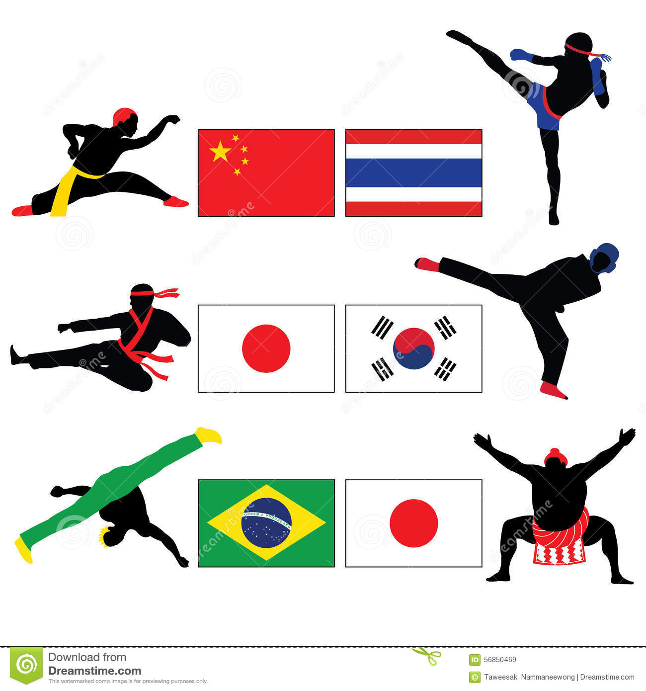 Set of Fighting and Asian Martial Arts Vector