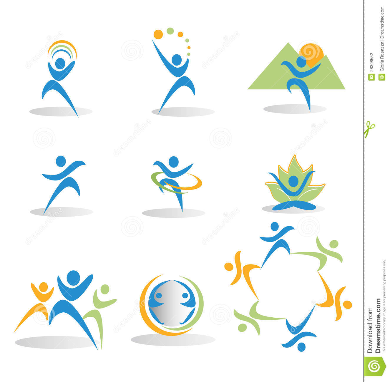 Set of figures in business and social icons logos