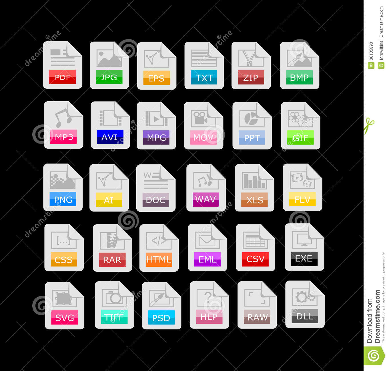 Set Of 30 File Format, Extensions Icons Editorial Image