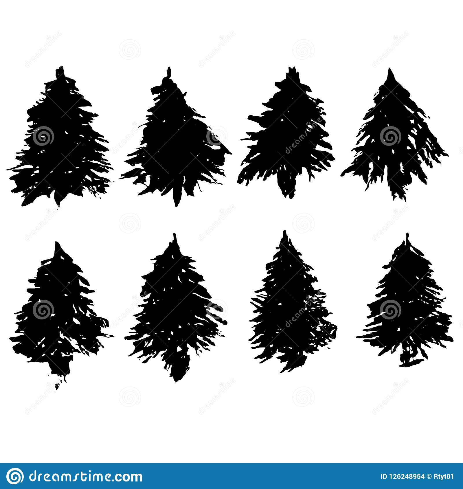 Set Of Fir Tree Silhouettes Black Grunge Christmas Trees