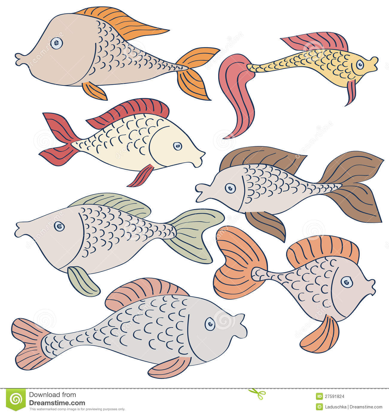Set of fishes drawing