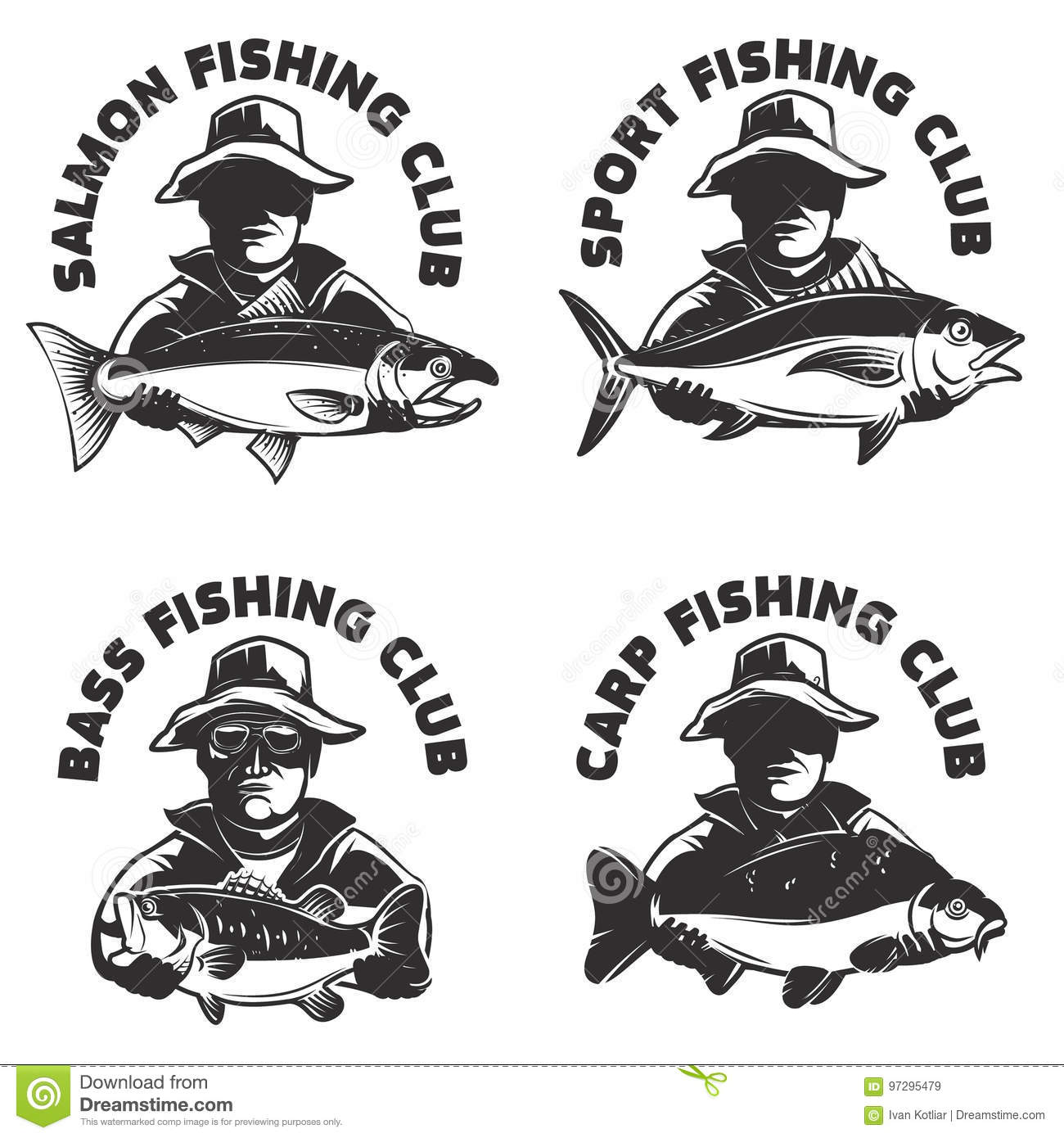 Set of fishing club labels templates. Fisherman silhouette with