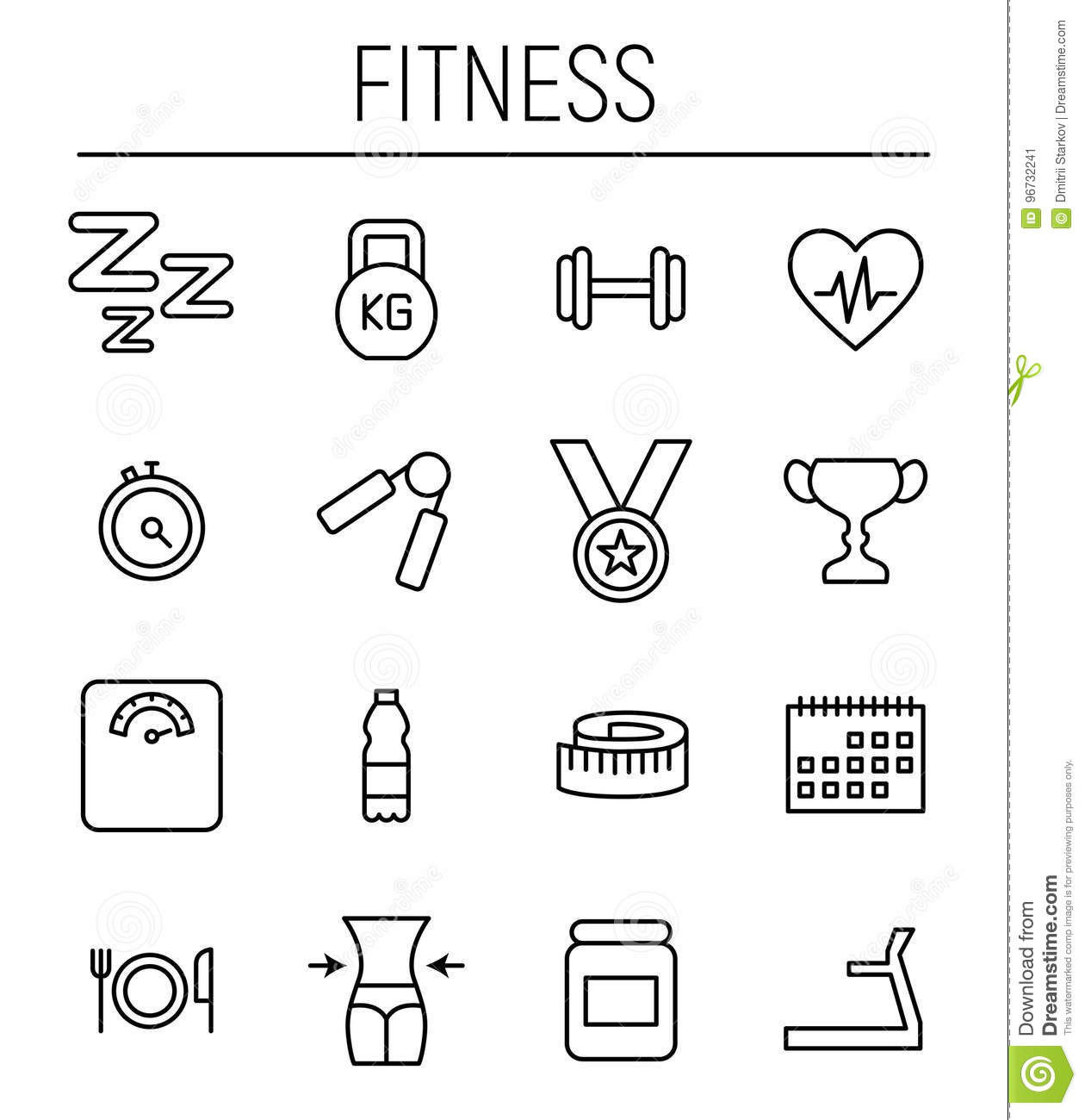 Set Of Fitness Icons In Modern Thin Line Style Stock Vector
