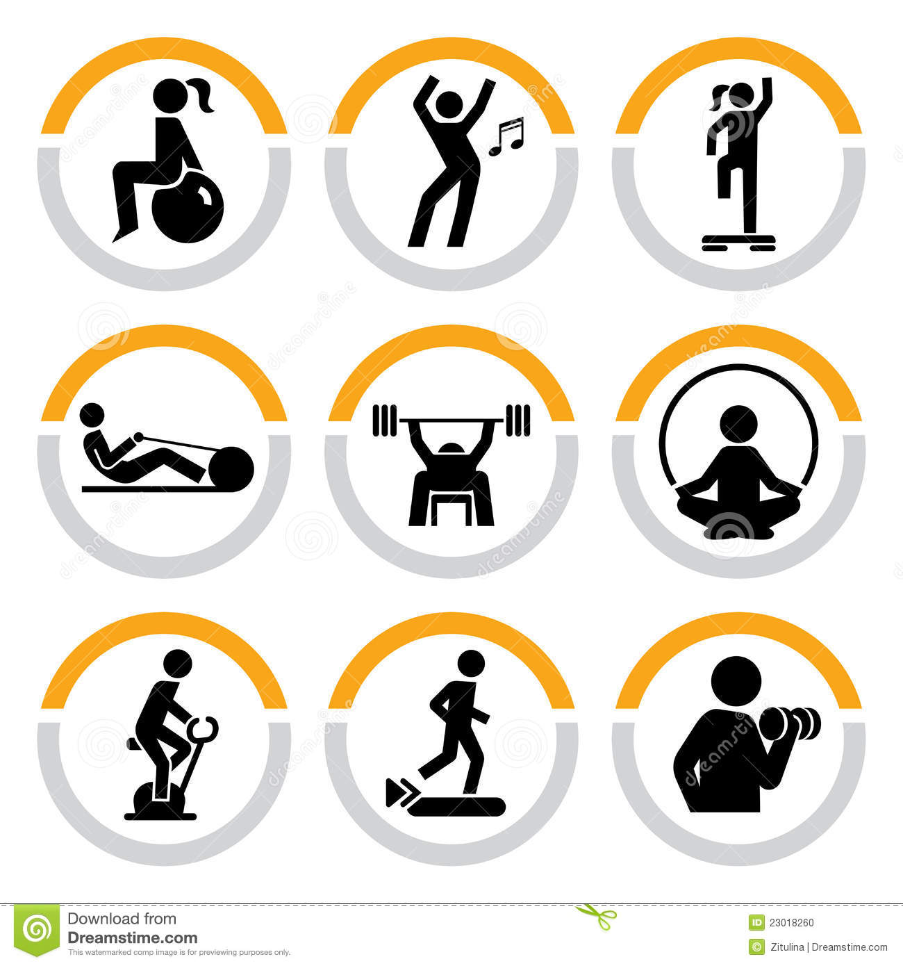 Set Of Fitness Pictograms In Semicircles Stock Vector