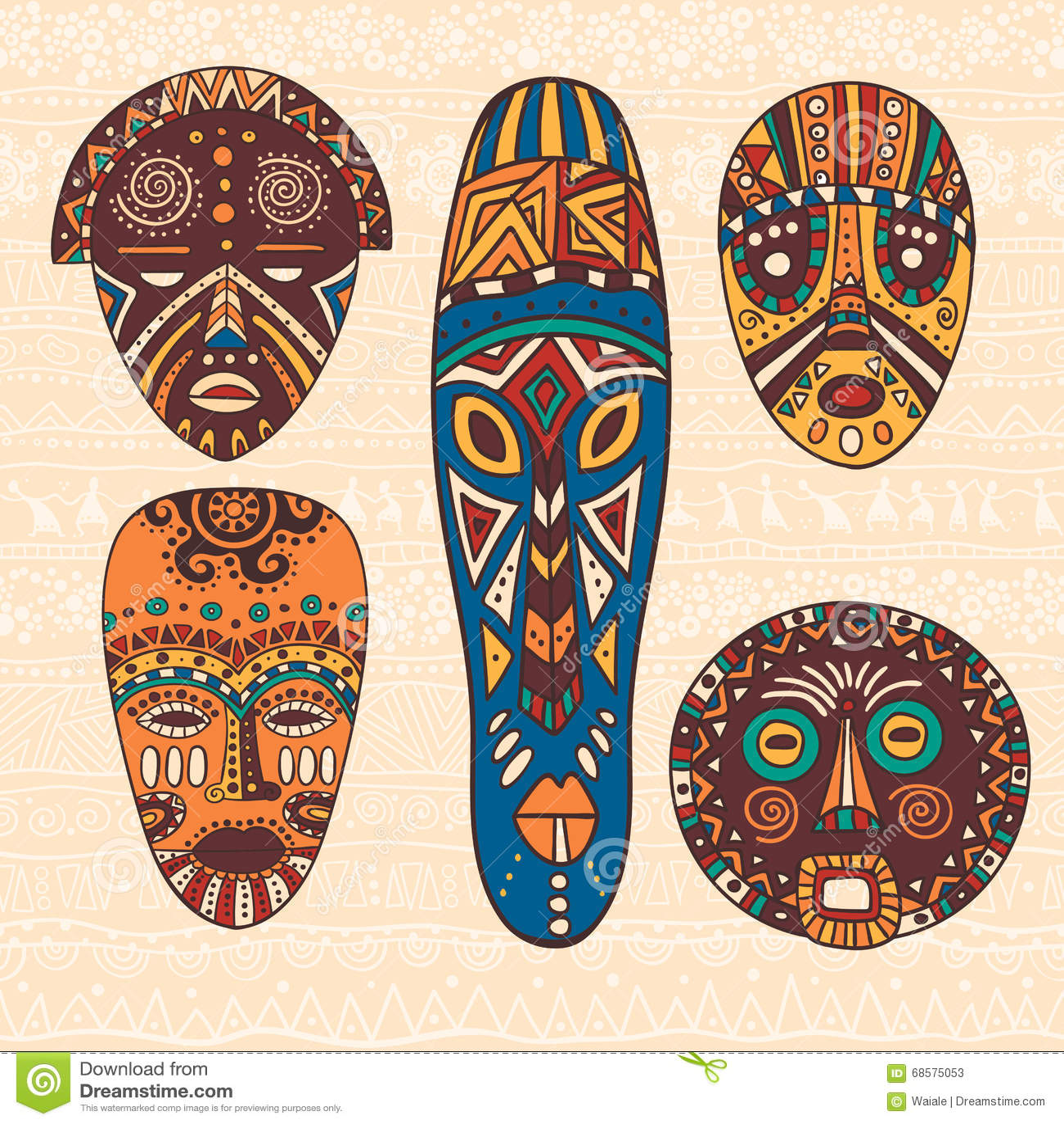 set of five african masks stock vector illustration of aborigine