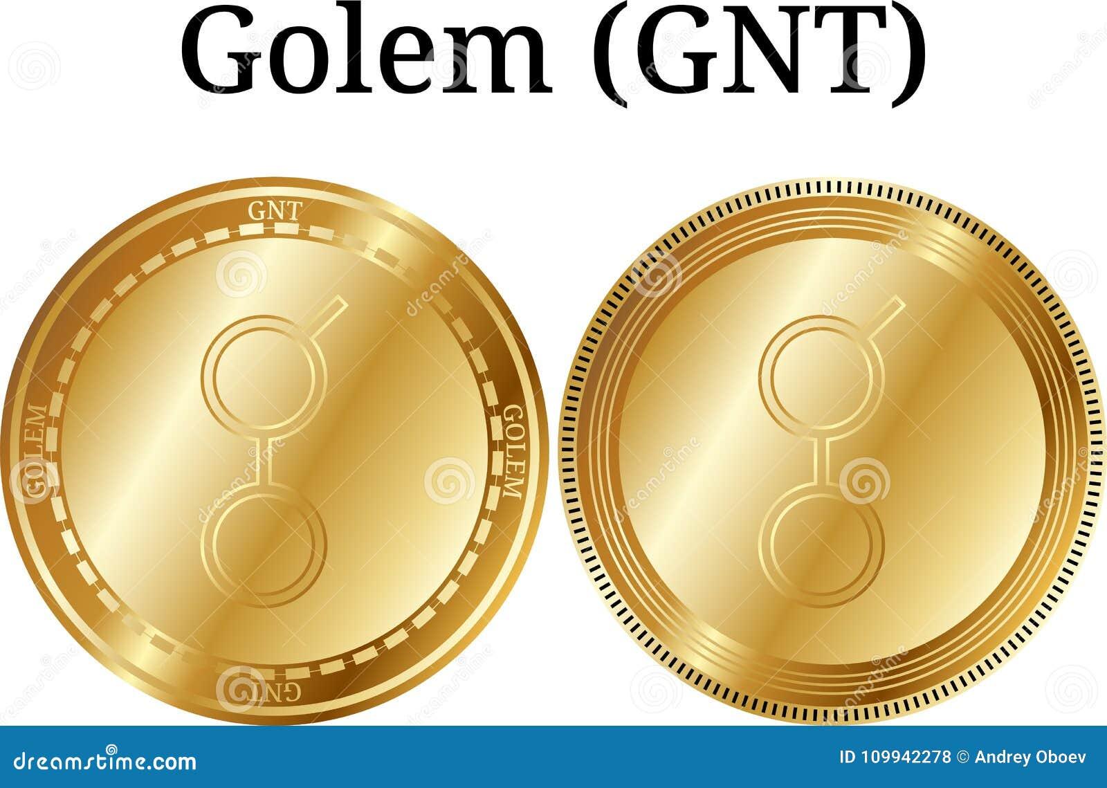 Set fizyczny złoty menniczy Golem GNT, cyfrowy cryptocurrency Golem GNT ikony set