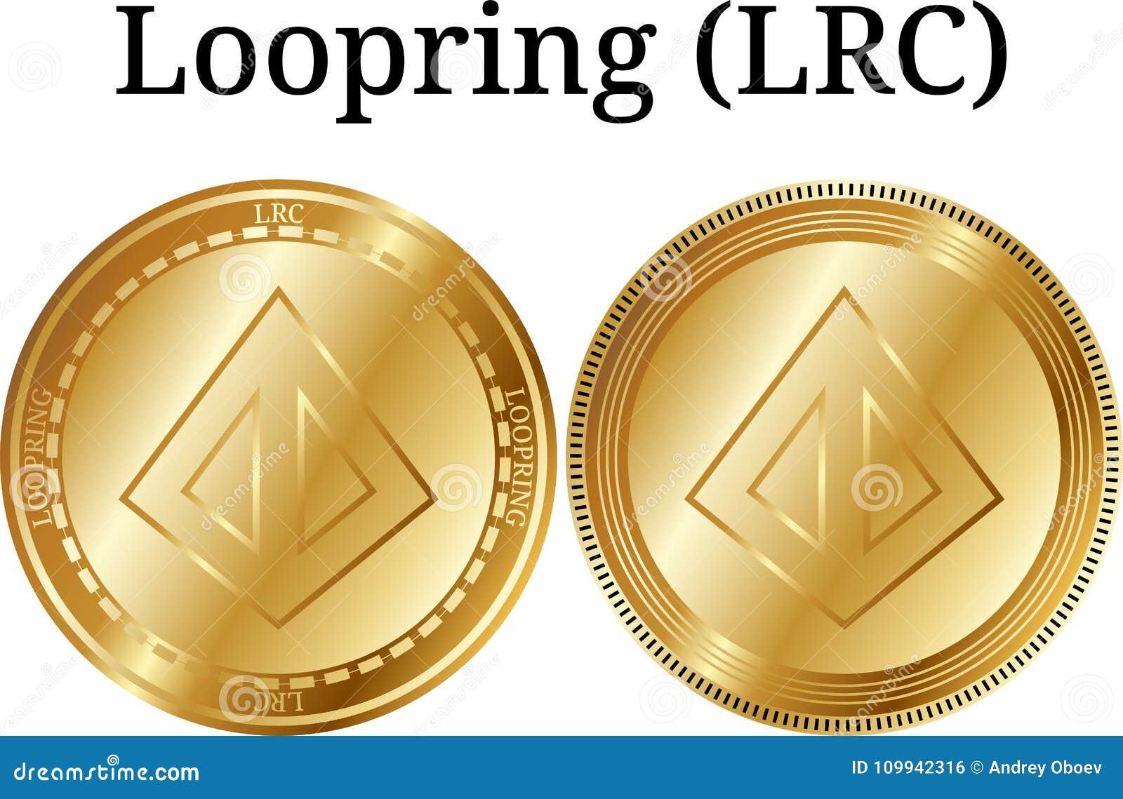 Set fizyczny złoty menniczy Loopring LRC, cyfrowy cryptocurrency Loopring LRC ikony set