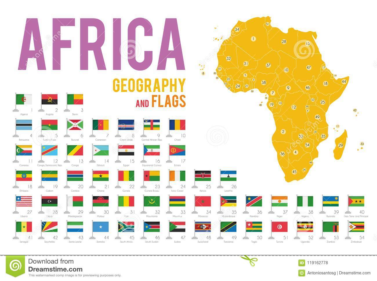 Set Of 54 Flags Of Africa Isolated On White Background And Map Of