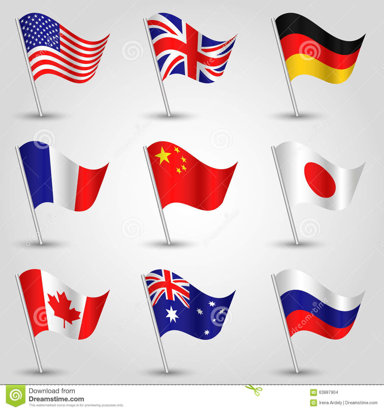 Set of flags - american, english, german, french, chinese, japanese, canadian, australian and russian vector