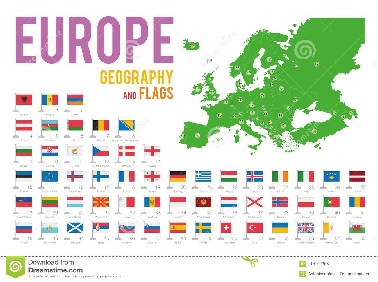 Set Of 56 Flags Of Europe Isolated On White Background And Map Of ...