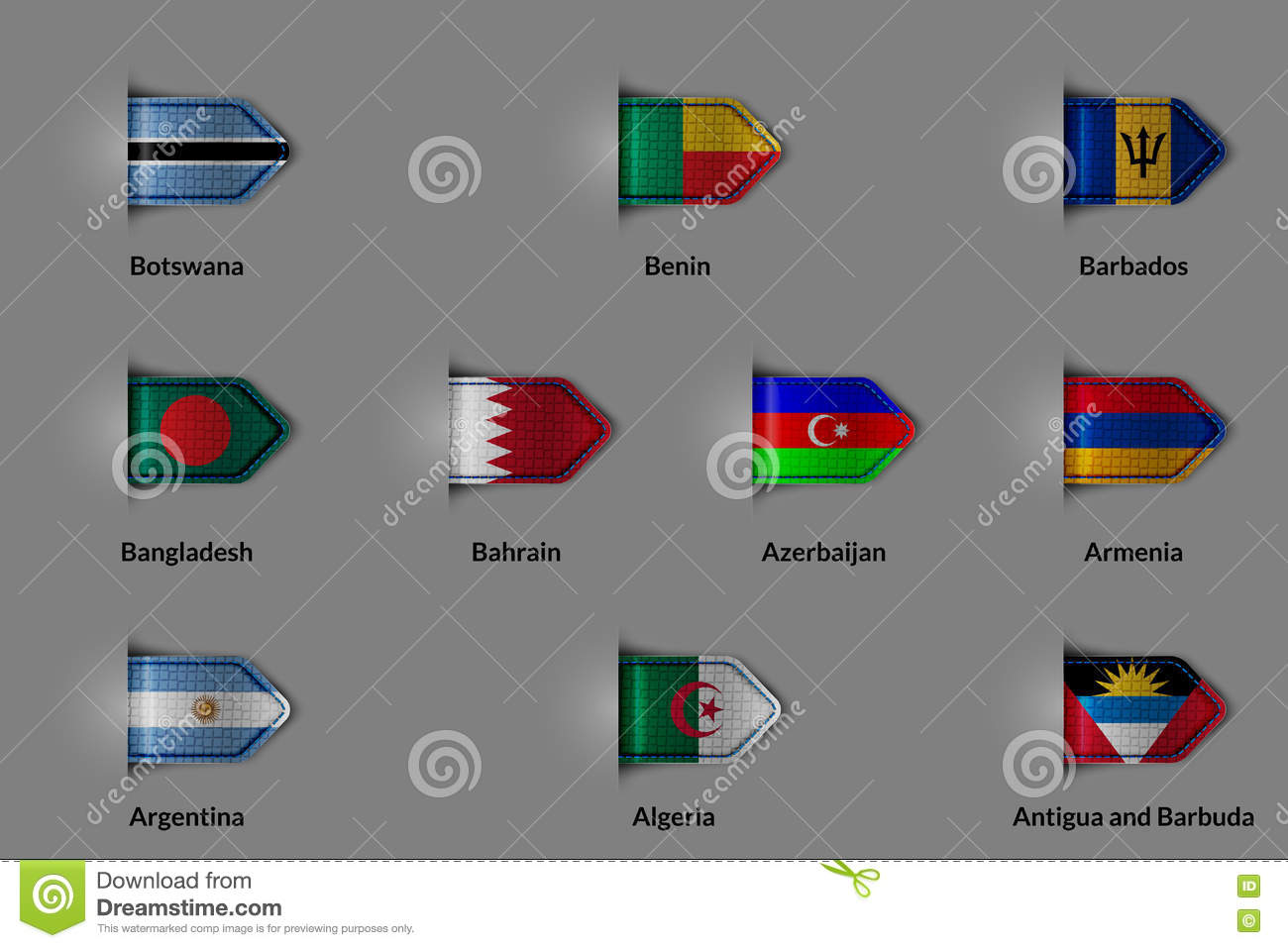 Set Of Flags In The Form Of A Glossy Textured Label Or Bookmark