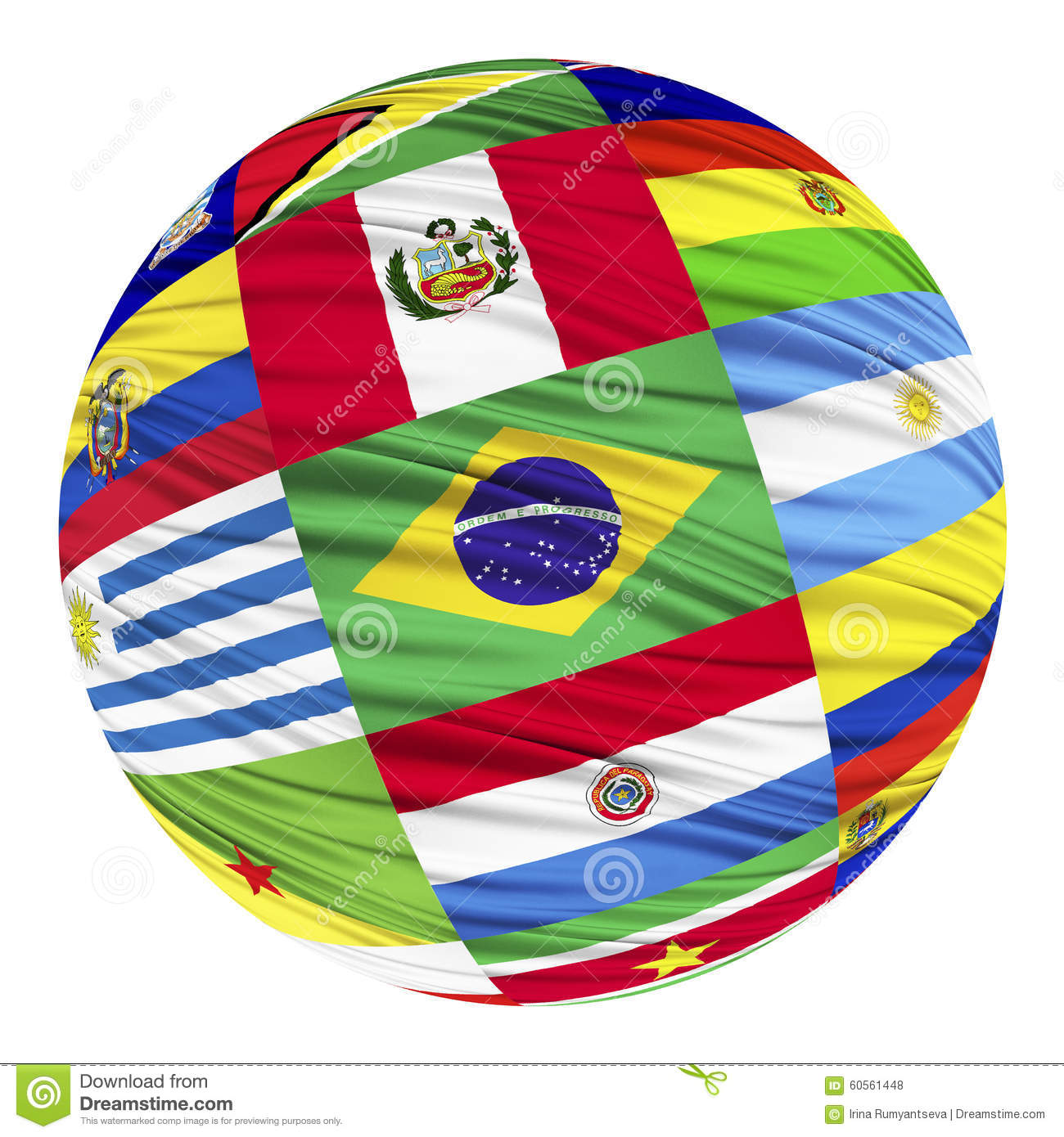 Set Of Flags Of South American Countries In Alphabetical Order - South america map and flags