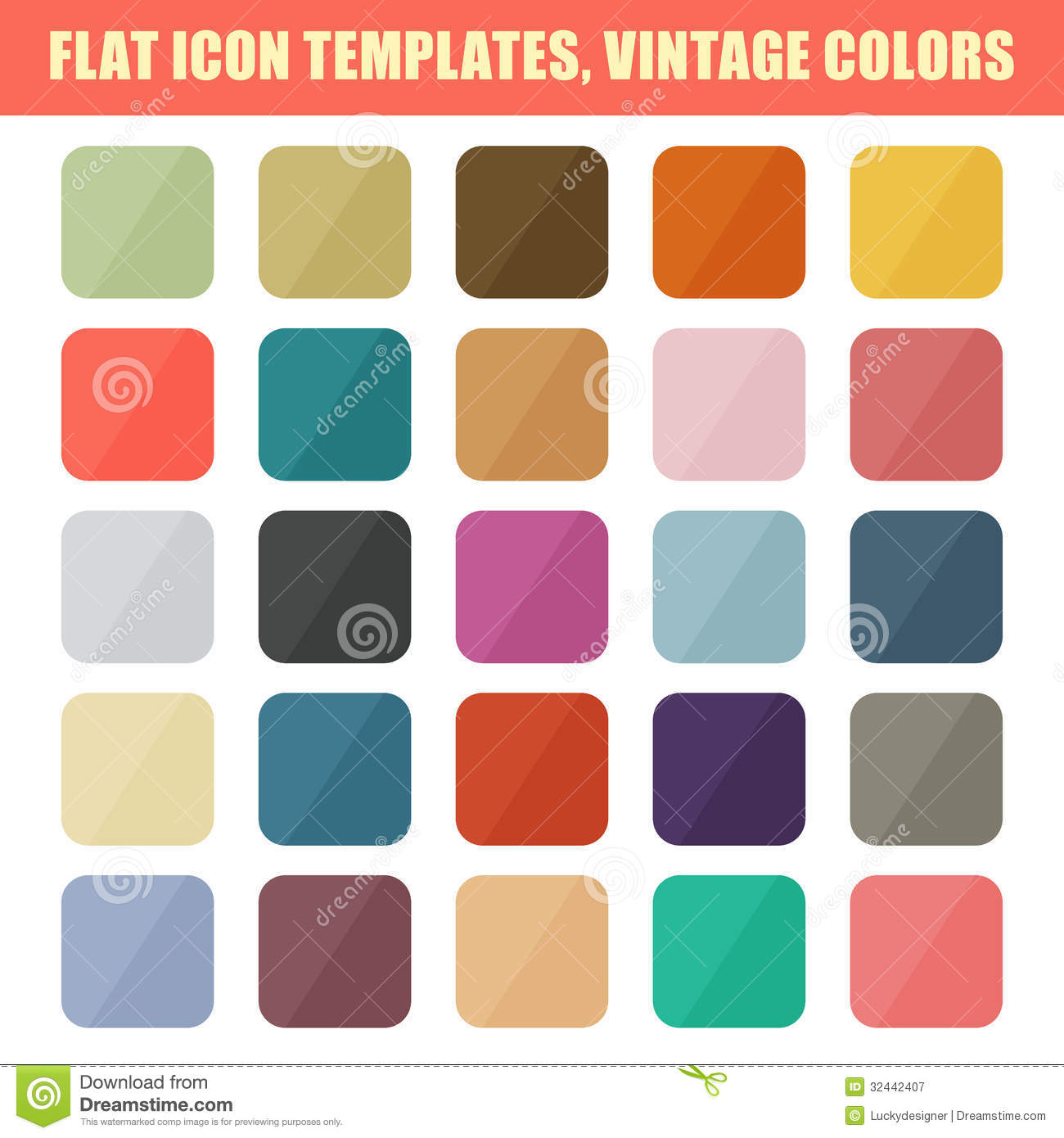 set of flat app icon templates, backgrounds. vintage palette
