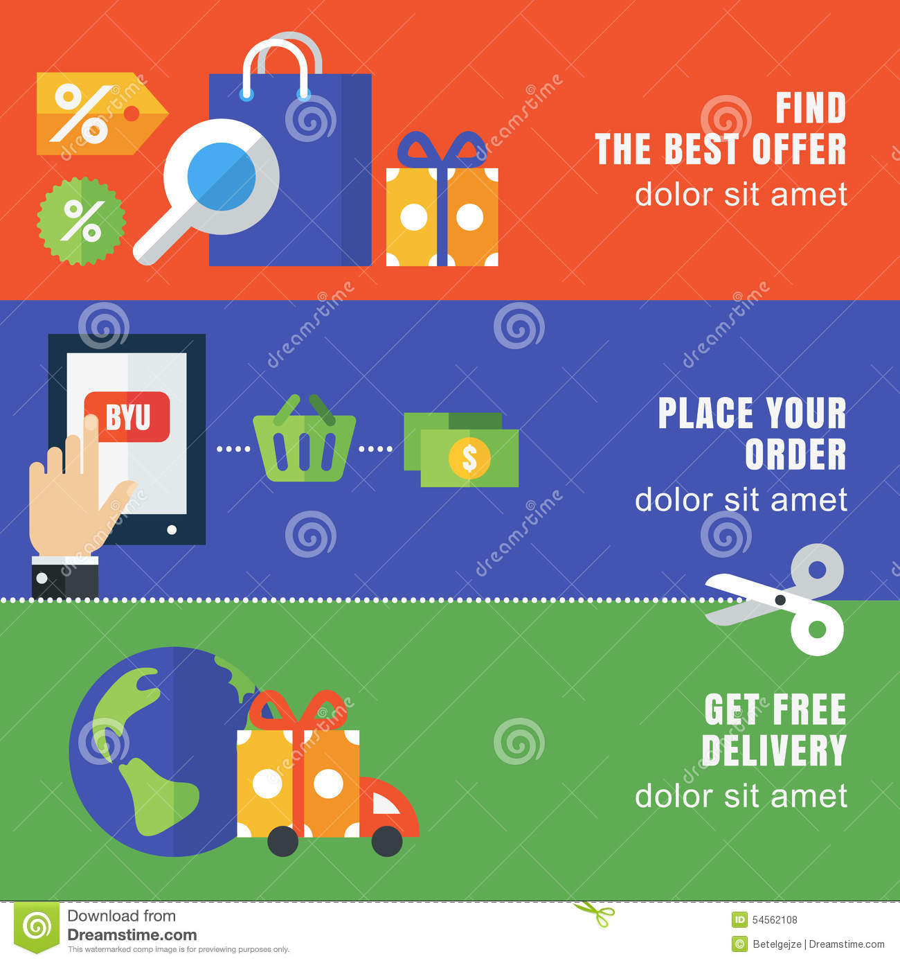 set of flat banner template abstract vector background design
