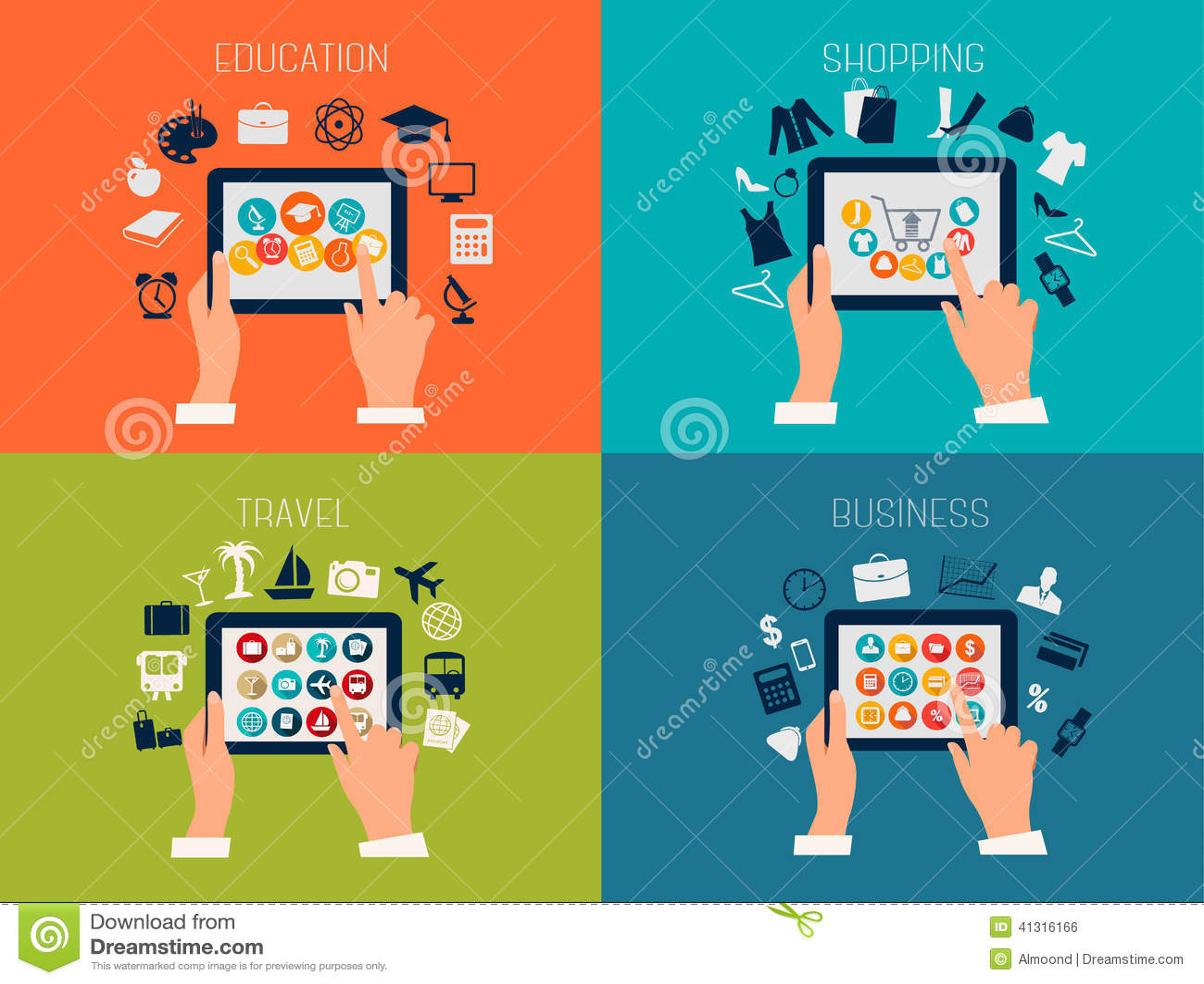 Set Of Flat Design Backgrounds For Education, Business