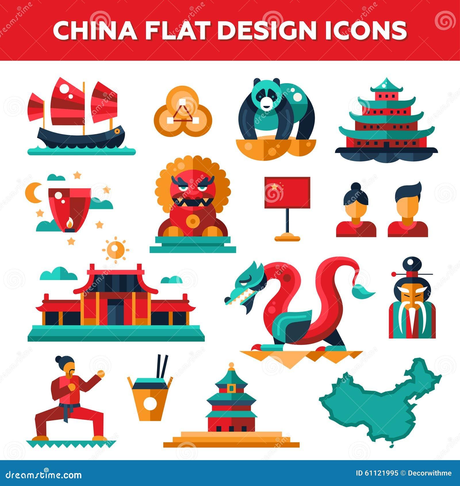 Set Of Flat Design China Travel Icons Stock Vector - Image: 61121995