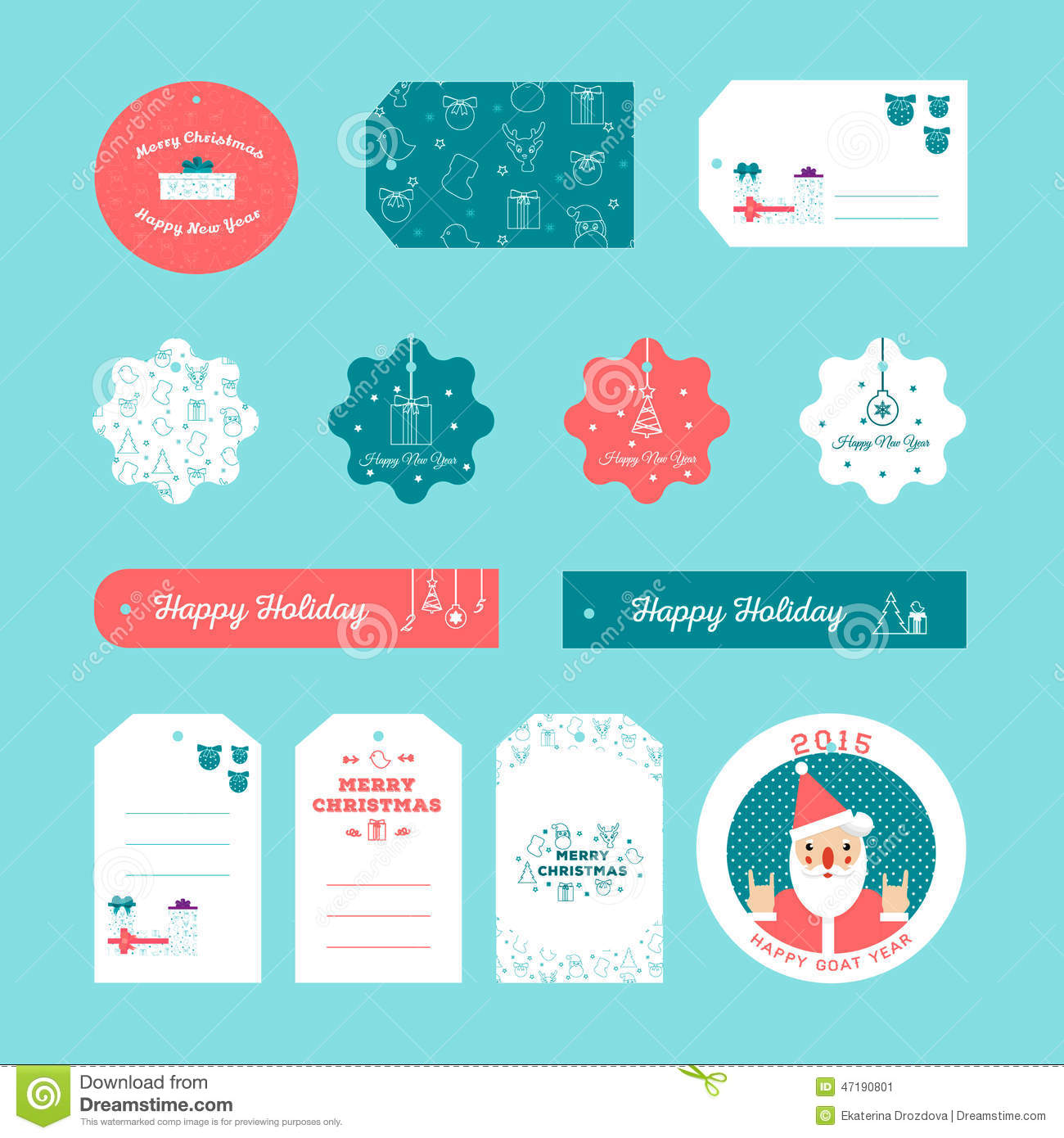 Set Of Flat Design Christmas And New Year Gift Tags Stock