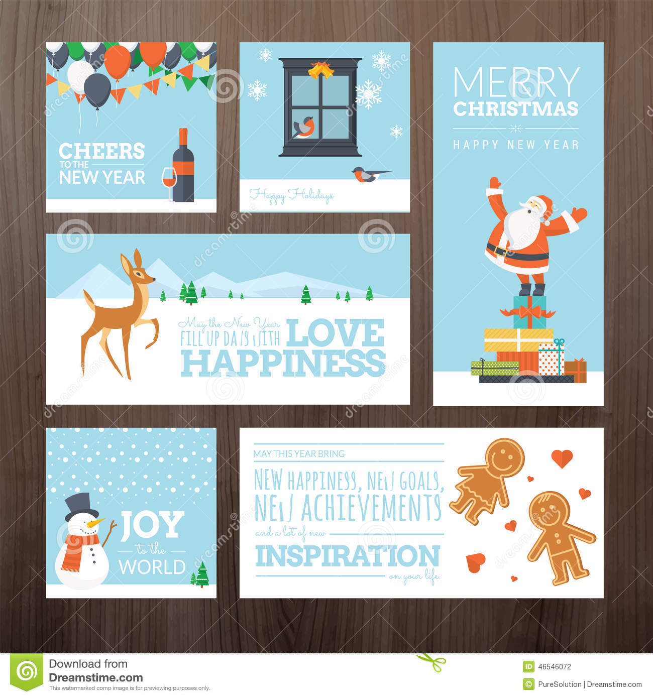 Set Of Flat Design Christmas And New Year Greeting Cards Stock