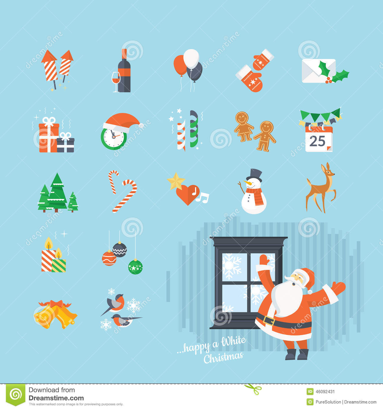 Set Of Flat Design Christmas And New Year Icons Stock