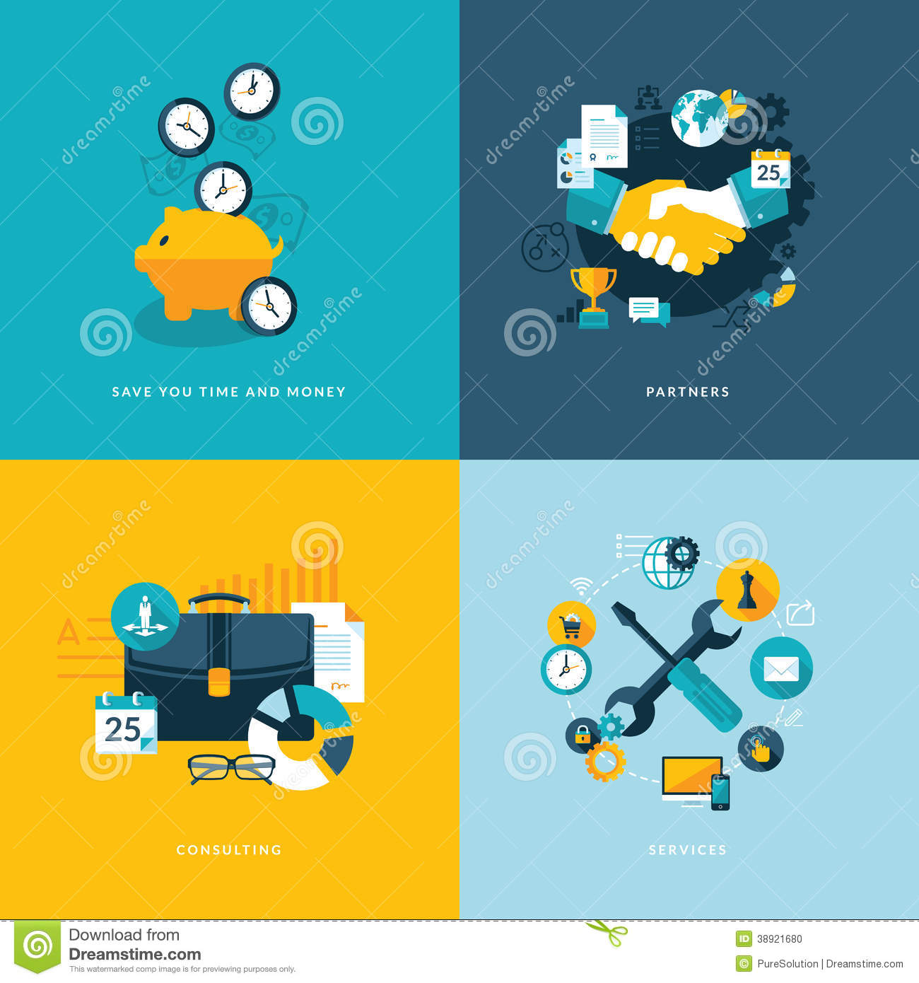 Set of flat design concept icons for business stock vector for Design consulting services