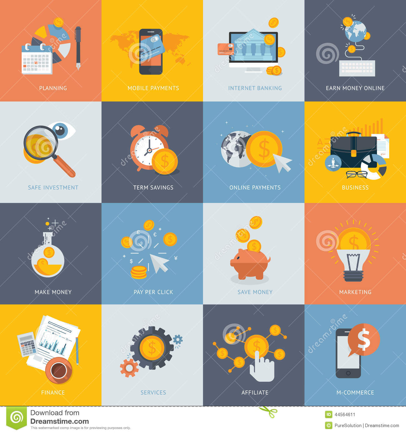 Set of flat design concept icons for finance