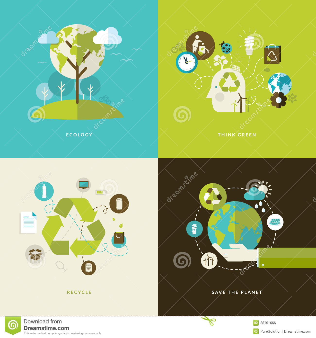 Set of flat design concept icons for recycling