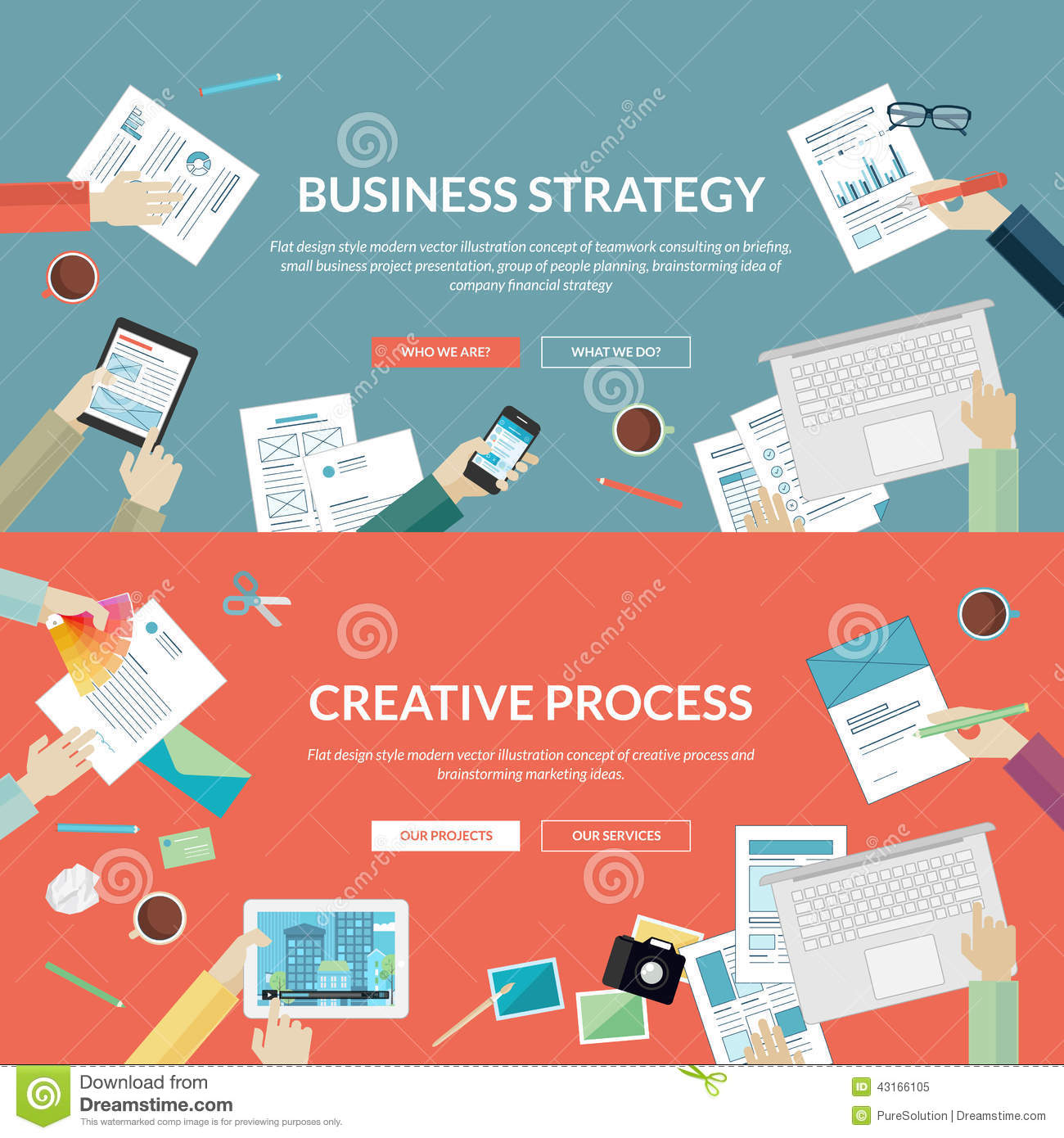 Set of flat design concepts for business strategy stock for Business design consultant