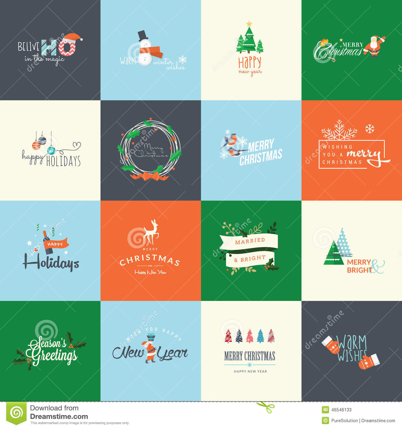 Set Of Flat Design Elements For Christmas And New Year Greeting ...