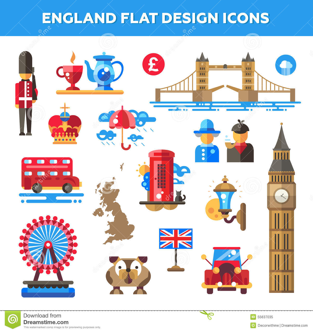 Set Of Flat Design England Travel Icons Stock Vector