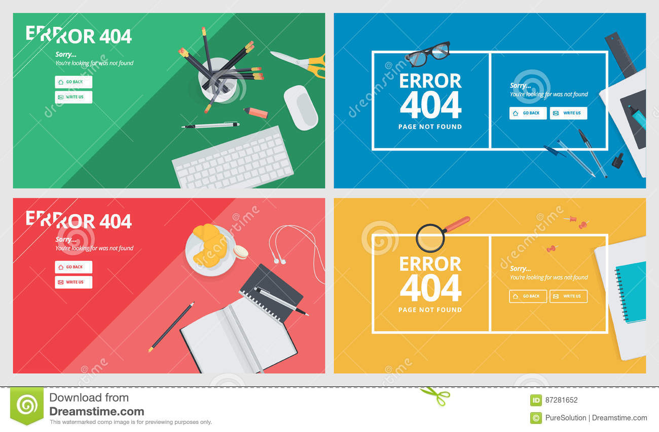 Set Of Flat Design 404 Error Page Templates Download Preview