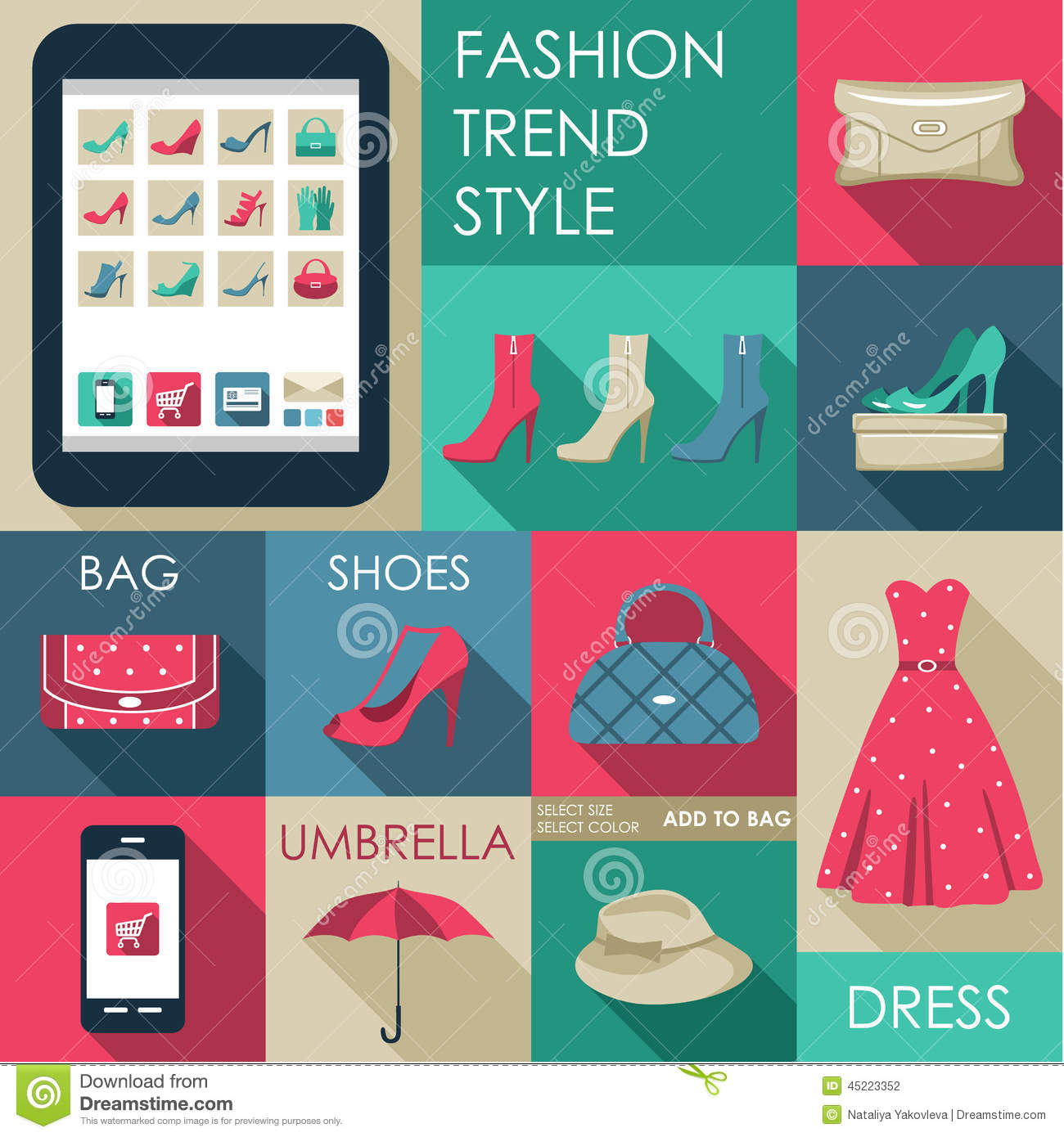 Set Of Flat Design Fashion Icon Stock Vector Image 45223352