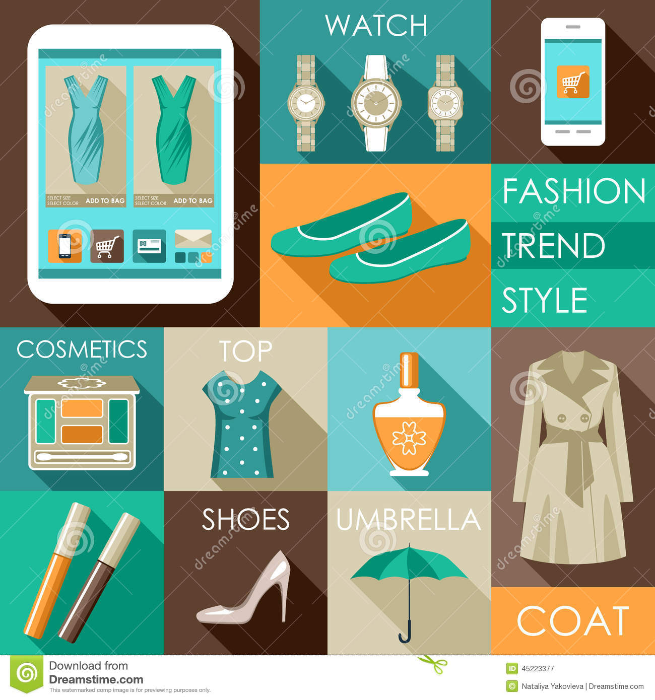 Set of flat design fashion icon stock vector for Design on line outlet