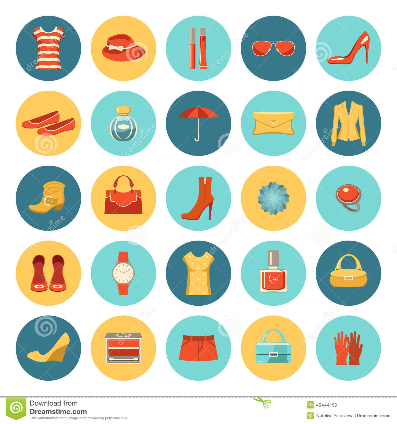 Set Of Flat Design Fashion Icons Stock Vector Image 49444198