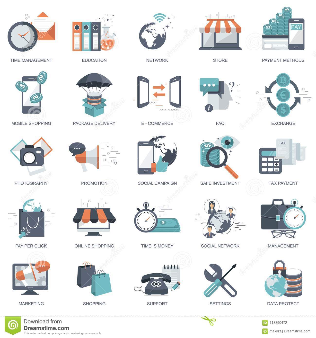 Set of flat design icons for business, pay per click, creative process, searching, web analysis, time is money, on line shopping.