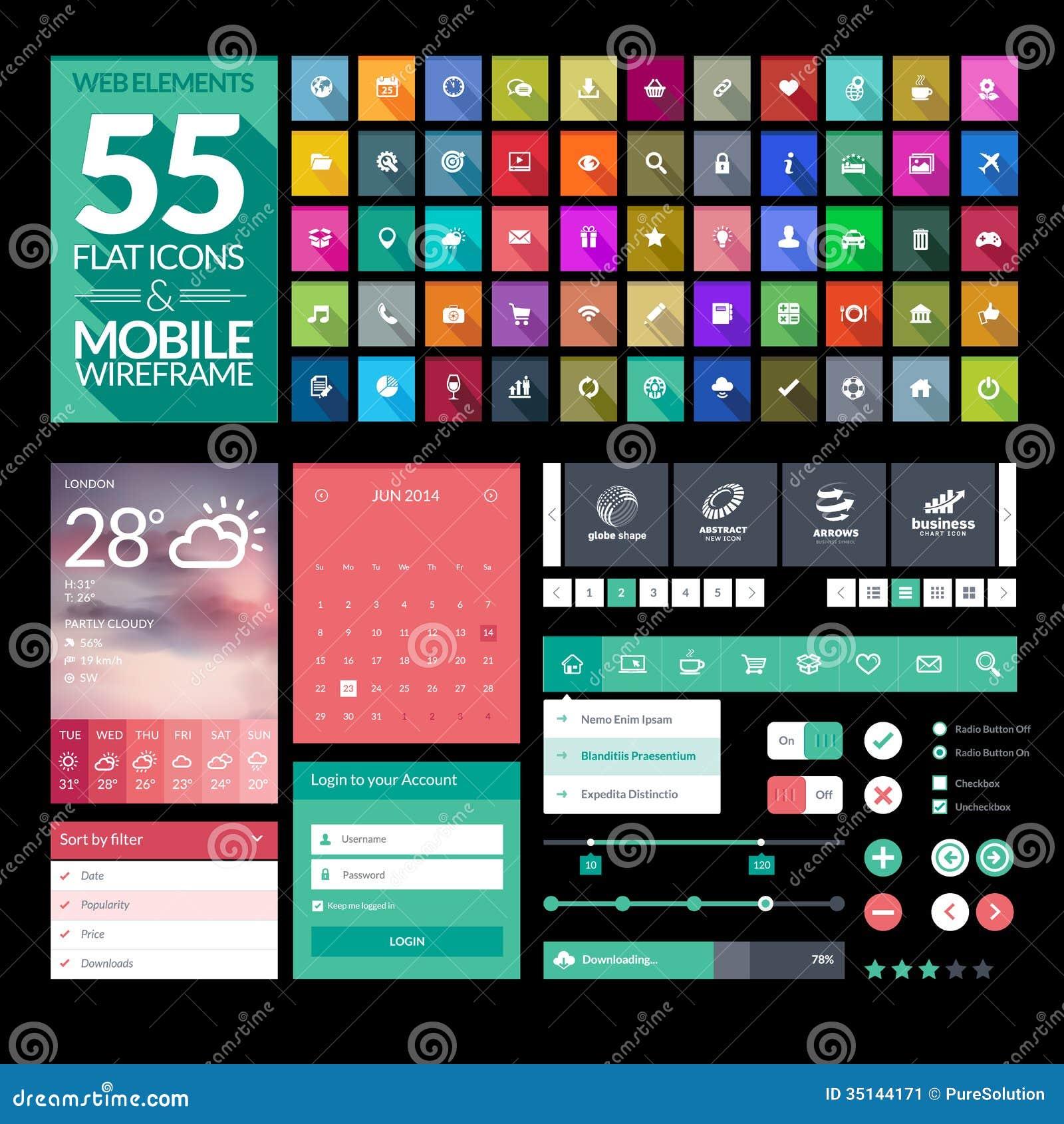 Set Of Flat Design Icons Elements Widgets Stock Image