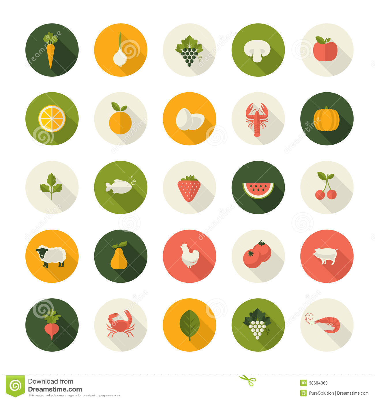 Set Of Flat Design Icons For Food And Drink Royalty Free Stock Photos - Image: 38684368