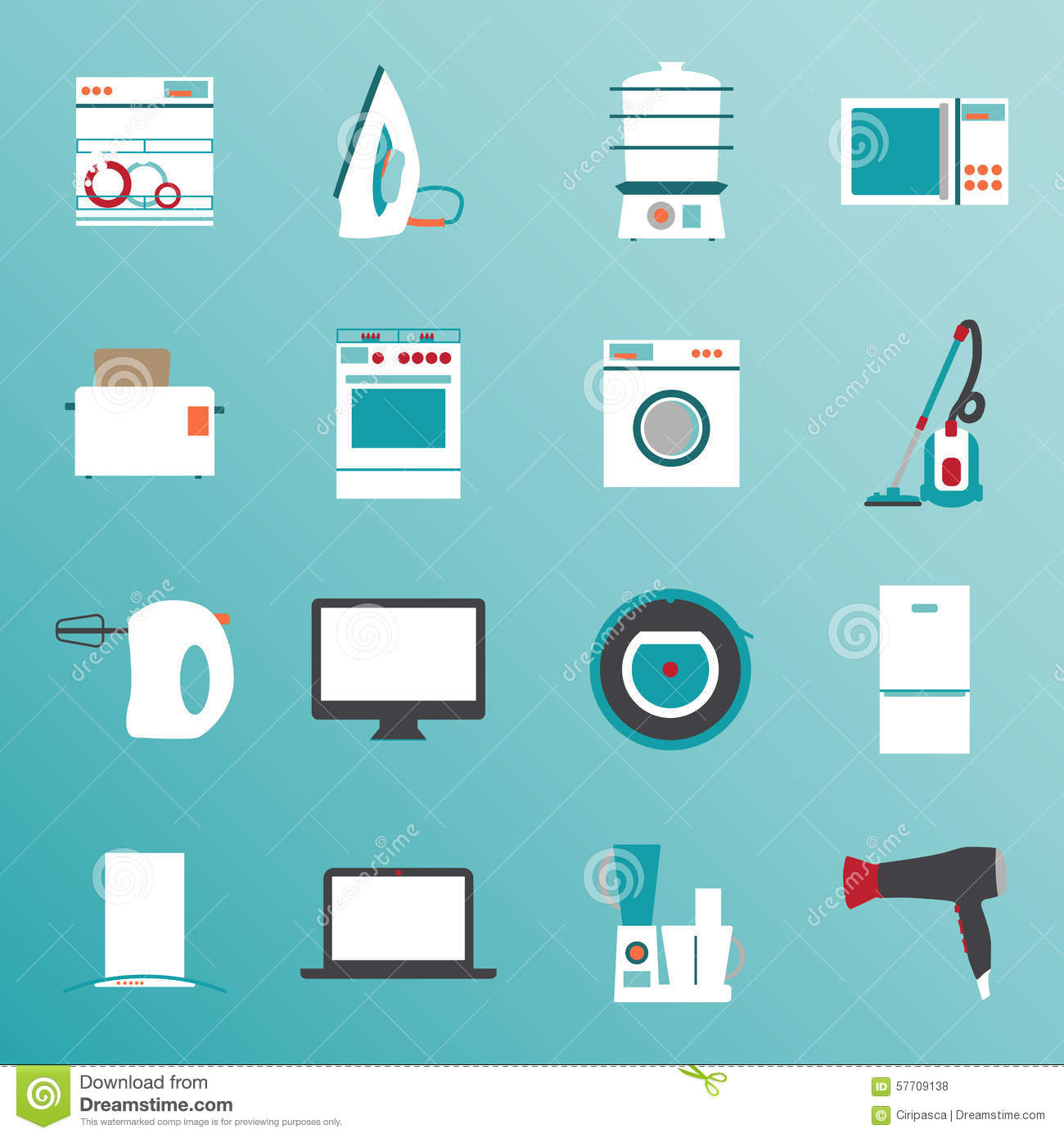 Kitchen electronics flat design icons set vector for Household refrigerator design
