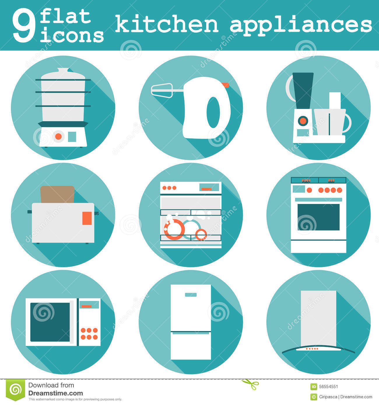 Set Flat Design Icons Of Kitchen Appliances With