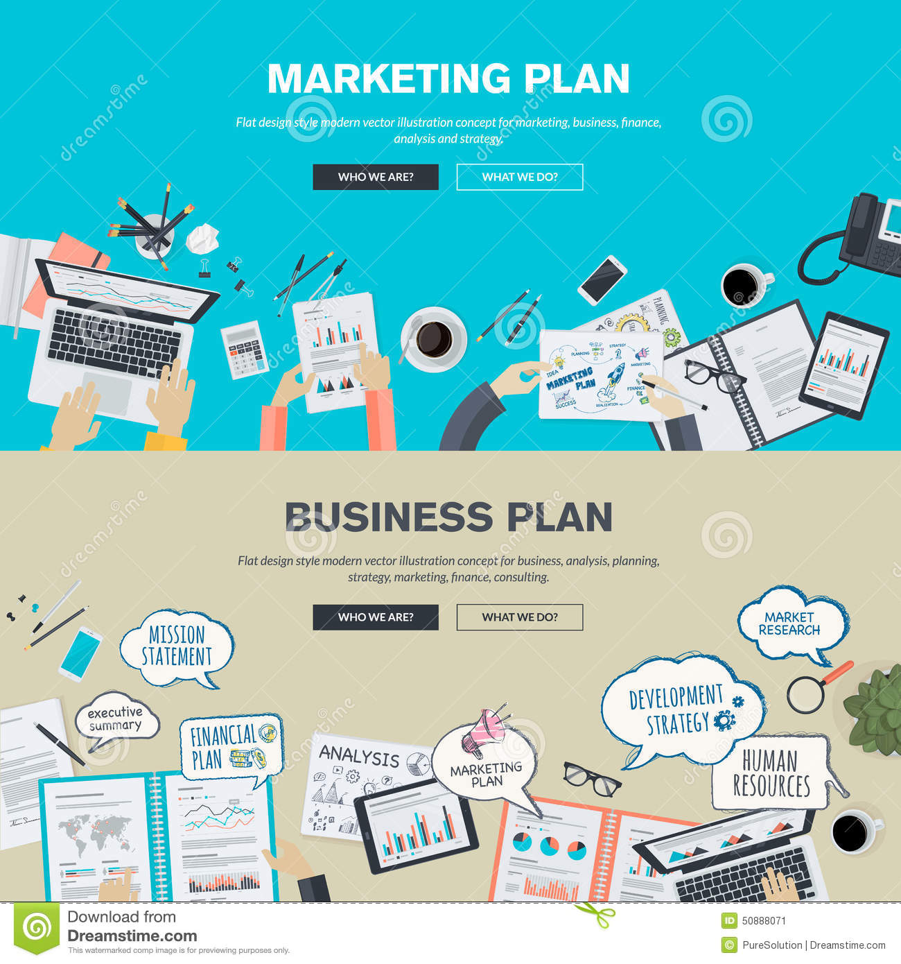 Set of flat design illustration concepts for business plan - Business plan for web design company ...