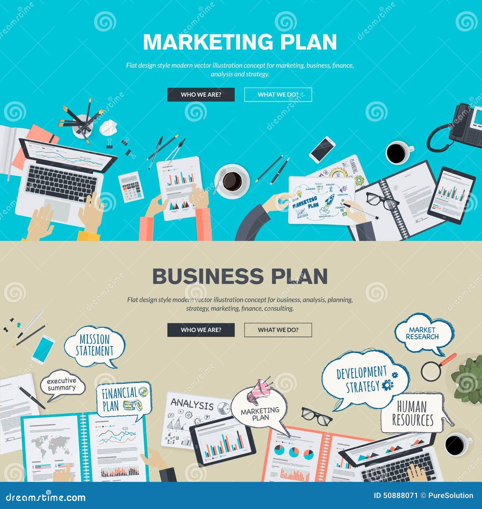 Set of flat design illustration concepts for business plan for Custom marketing materials