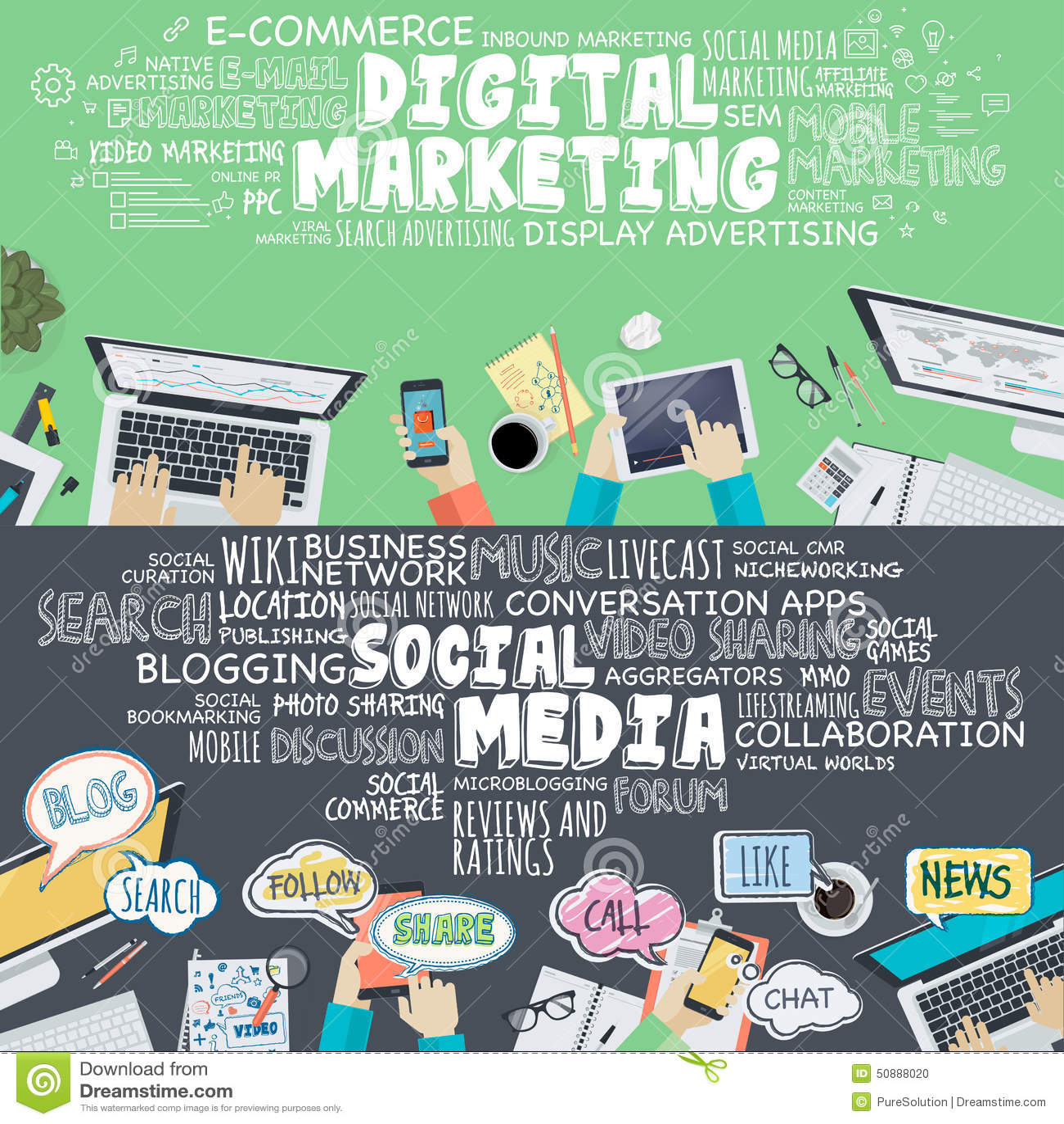 Set of flat design illustration concepts for digital for Digital marketing materials