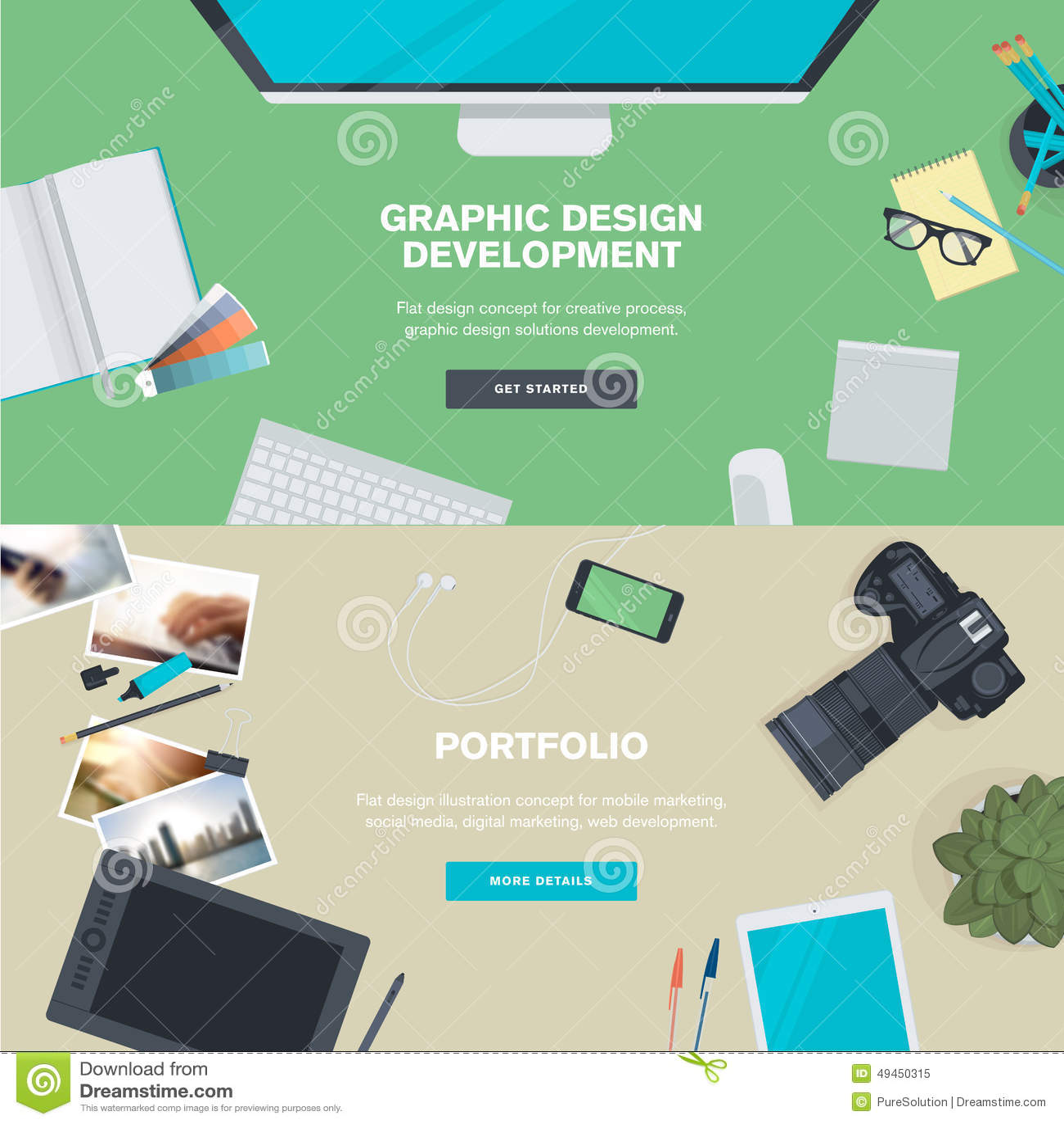 Set Of Flat Design Illustration Concepts For Graphic