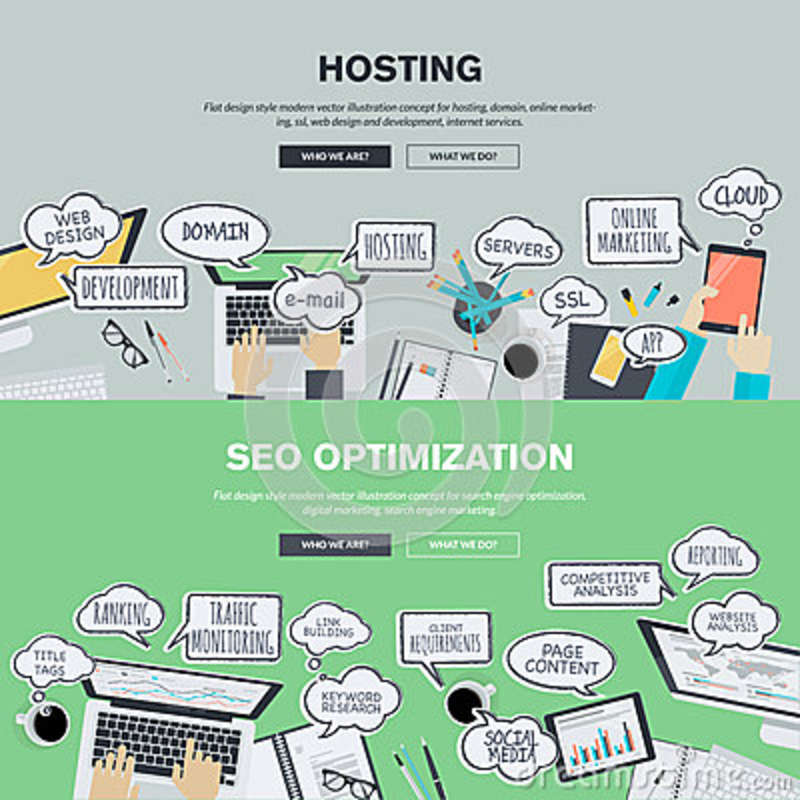 Set of flat design illustration concepts for hosting and SEO