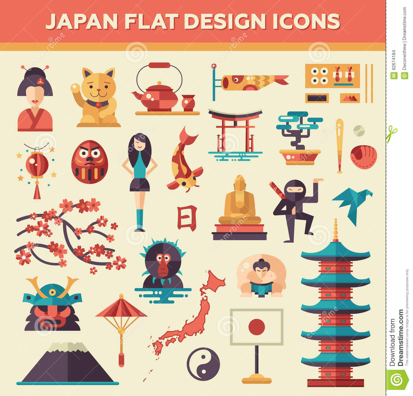 flat japan icons set vector illustration 46830608. Black Bedroom Furniture Sets. Home Design Ideas